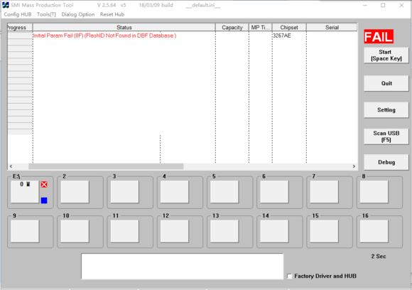 换了好几个版本都不识别闪存,提示FlashID not found in DBF Database