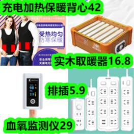 实木取暖器16.8元!充电加热保暖背心49元!血氧监测仪29元!排插5.8元!